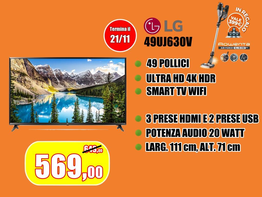 Tv Lg 49uj630v con definizione 4k ultra hd, smart e wifi con scopa elettrica rowenta in regalo